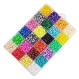 Hama Beads, 2400 PCS Perler Beads 24 Colores Mini Fuse Beads Kit de Rebordear Artesanía con Papel de Hierro Clip Llavero Broche de langosta Pegboards para Niños Adultos DIY Handcraft Project Juguetes Educativos