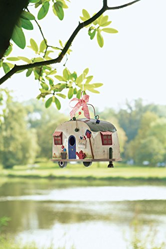 Vogelhaus Wohnwagen Camper zum Hängen Holz Blechdach - 7