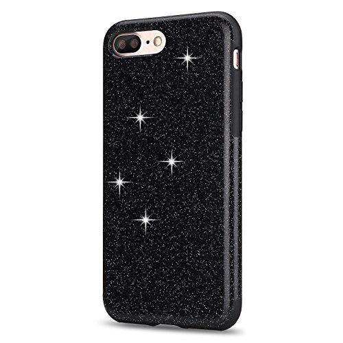 iPhone 7 Plus Hülle, TENDLIN Luxury Hybrid Glitzer Bling Kristall [Exakt-Anpassen] Weiches TPU Glänzend Glitzer Schönheit Hülle für iPhone 7 Plus (Schwarz) Schwarz