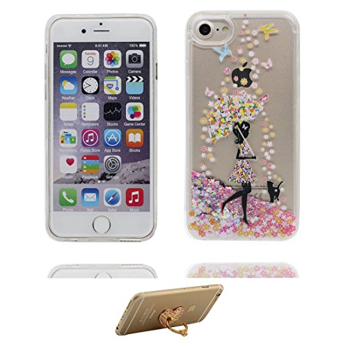 "iPhone 6 Coque, iPhone 6s étui Cover 4.7"", [Bling Glitter Fluide Liquide Sparkles Sables] iPhone 6 Case Shell (4.7""), anti- chocs -(Flamant) & ring Support Fille noire Umbrella"