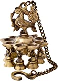 #9: Two Moustaches Peacock Hanging Brass Diya with Bells   Home Decor  