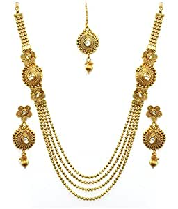 YouBella Jewellery Sets for Women Kundan Maharani Temple Traditional Necklace Set for Women Party wear Jewellery Set with Earrings for Women