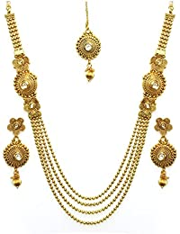 YouBella Antique Kundan Maharani Temple Traditional Necklace set for women party wear Jewellery set with Earrings for Women