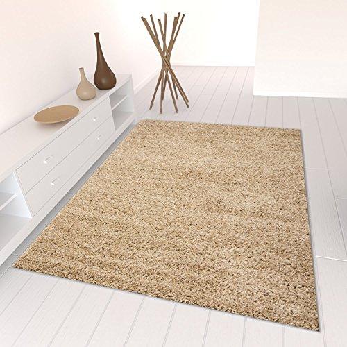 Teppich-home stella shaggy tappeto colore pelo lungo tappeti moderni per soggiorno camera letto tinta unita beige, 160x220 cm