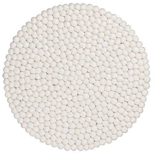 myfelt Linéa Filzkugel-Tischset/Platzdeckchen, rund, Schurwolle, weiß, Ø 36 cm