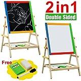 Kids Bedroom Wooden Double Sided Easel Chalk Drawing Board Children Learning Board
