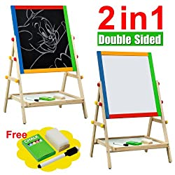 Popamazing Kids 2 In 1 Black White Wooden Easel Chalk Drawing Board For Child Educational