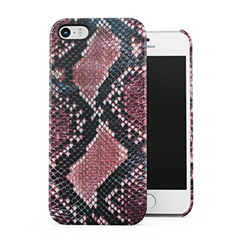 Grey Snake Skin Pattern Apple iPhone 5C Snap-On Hard Plastic Protective Shell Case Cover Custodia Black Red Skin