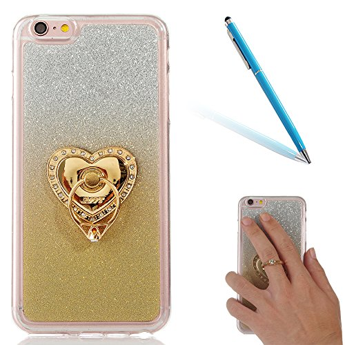 "Translucide Cover avec Kickstand Ring pour Apple iPhone 6/6s 4.7"", CLTPY Soft Gomme Shell dans 2in1 Amovible Scintillate Glint Motif Antipoussière Anti-rayures Ultra Mince Léger Fit pour iPhone 6,iPho Or avec Ring"