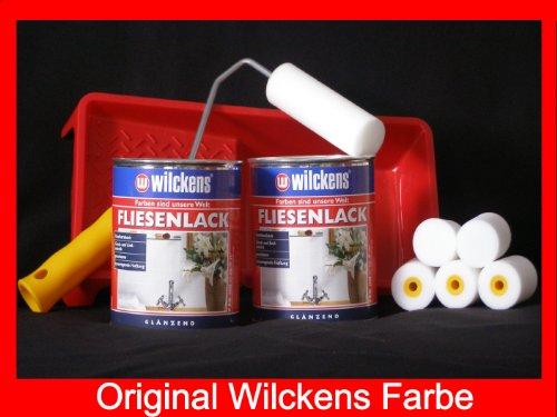 Fliesen Farben (2 Dosen FLIESENLACK inkl. FARBROLLER WILCKENS weiß für 16 qm)