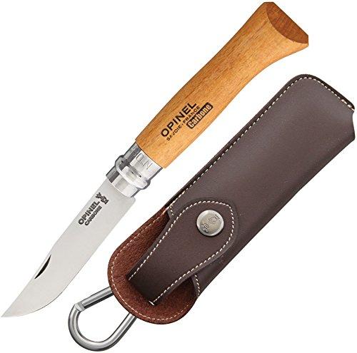 Opinel - N°08 Carbone et Étui Alpine - Couteau Pliant de Poche Carbone - Couteau de Poche Lame en Acier Coffret Bois Couteau - Lame Acier 8,5 cm et Manche en Bois