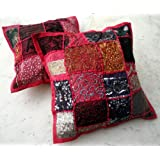 Amazing India 2 Pink Embroidery Sequin Patchwork Indian Sari Throw Pillow Cushion Covers