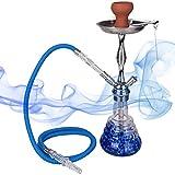 DXP Orientalisch Wasserpfeife Shisha Hookah 1 Schlauch ca.50cm inkl. Kohlezange Tonkopf Zubehör Qualität JYH08 Blau