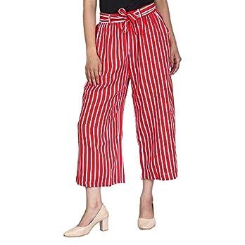 Rot-weiß gestreifte Culottes aus Rayon, Caprihose, kurze Hose Palazzo Lässige Weite Hose mit Taschen für Damen, Mädchen