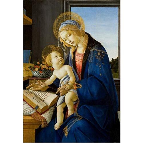 Pintura Al Óleo La Virgen Y El Niño Pinturas Sobre Lienzo En La Pared El Libro Pinturas Famosas Reproducción Decoración-60cmx70cm