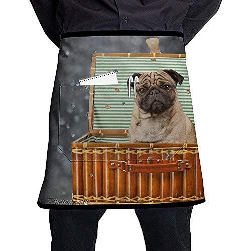 Reredith Netter Hund, der in der Korb-halblangen Schürze mit Taschen Unisex für Küchen-Restaurant BBQ sitzt -