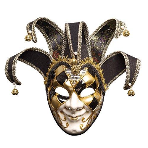 BR Männer Halloween Masken Urlaub Party Weihnachten Phantasie Venedig Italien Full Face Antique Mask (Farbe : SCHWARZ)
