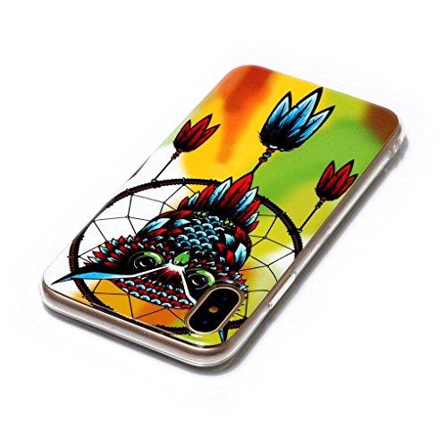 Apple iPhone X Hülle, SATURCASE Schönes Muster Leuchtend Fluoreszierend Ultra Dünn Weich TPU Gel Silikon Schützend Zurück Case Cover Handy Tasche Schutzhülle Handyhülle Hülle für Apple iPhone X (Muste Muster-10