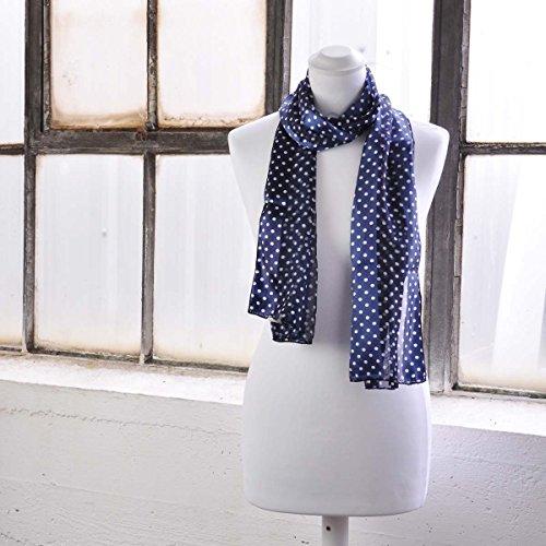 Jolie écharpe pour femme Motif pois et 60s années, foulards, excellente qualité d'écharpe Motif pois rétro - Small Dot -Navy
