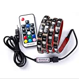 Tira de LED RGB para HDTV 5 m 5050, retroiluminación TV, USB Powered impermeable flexible...