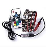 TV LED Beleuchtung, RGB LED Stripe, USB LED Band, Dimmbar Farbwechsel Selbstklebend Wasserdicht, Hintergrundbeleuchtung Lichterkette mit Fernbedienung für TV, Desktop ,Schreibtisch [2 Meter]