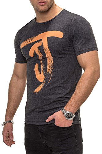 JACK & JONES Herren T-Shirt Kurzarmshirt Top Print Shirt Casual Basic O-Neck (XXL, Dark Grey Melange)