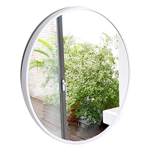 Wandspiegel für Eingangsbereiche, Badezimmer, Schlafzimmer, Metallrahmenbreite 3,5 cm Moderner runder Spiegel - Weiß(Durchmesser 50-80 cm)