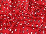 Mäuse Print Baumwolle Popeline Kleid Stoff, Meterware, Rot