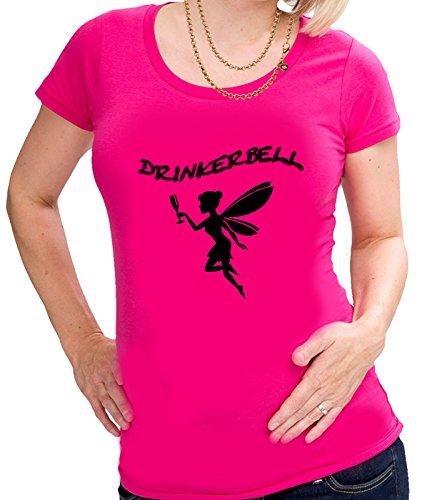 Drinkerbell Trinkerfee Fee Bell Partyshirt Sprücheshirt Girly Mädchen T-Shirt Shirt S-2XL Schwarz, Pink, Weiss (L, Pink)