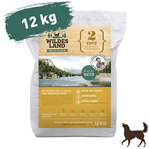 Wildes Land   Trockenfutter für Hunde   Nr. 2 Ente   12 kg   mit Kartoffeln und Wildkräutern   Glutenfrei & Hypoallergen   Extra viel Fleisch   Alle Hunderassen   Beste Akzeptanz und Verträglichkeit