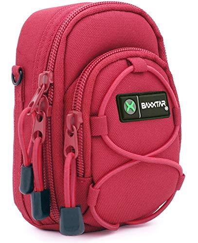 Baxxtar Redstar V4 - Funda para cámara (con correa para hombro y pasador para cinturón) - color rojo - para Nikon A900 S9900 - Panasonic DC TZ200 TZ90 DMC TZ80 TZ100 LX15 - Canon PowerShot SX730 SX740