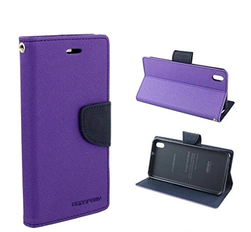 BRAND AFFAIRS Luxury Mercury Goospery Fancy Wallet Imported Original Premium Quality Fancy Folding Flip Folio with Stand View Faux Leather Mobile Flip Cover and 2 cards slot Stand Case Cover For Mercury Fancy Diary CARD Wallet Flip Case Back Cover for SONY XPERIA C (c2305) (Purple)  available at amazon for Rs.199