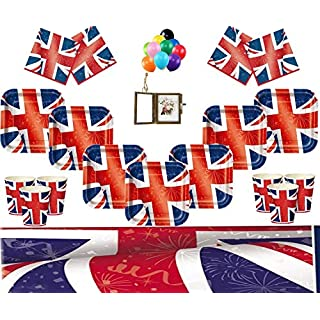 Union Jack Party Supplies Best of British Kids Birthday Party Tableware Kit For 16 Guests Royal Party Decoration- FREE PHOTO FRAME & BALLOONS