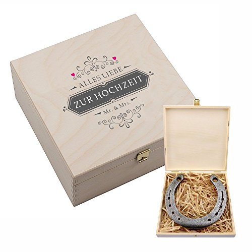 """Hufeisen-Box mit Motiv """"Alles Liebe zur Hochzeit"""" Mr & Mrs – Hochzeitsgeschenk für Brautpaar – Geschenk zur Hochzeit – Geschenkidee für Paare – kreativ lustig originell – Geldgeschenk Verpackung"""