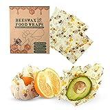 Bee's Wrap Reutilizable, 3 Pack Envoltorio De Cera De Abejas Ecológicas - Natural Envolturas De Almacenamiento De Alimentos De Tela De Cera De Abejas Para Pan Sándwich