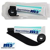 M&M Neopren Nahtband 25mm x 950mm zum Aufbügeln bei 95° Plus Neoprenkleber 35ml Reparatur für Nähte bei Neoprenanzüge Taucheranzüge Tauchschuhe & Shortys Bekleidung aus schwarz