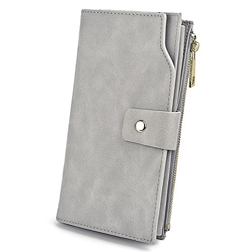 Geldbörse Damen UTO RFID Blockierung PU Leder Kupplung 21 Kartensteckplätze Halter Organizer mit Armband Große Kapazität innere Tasche passt 5,5 '' Handy grau - Schicke Geldbörse