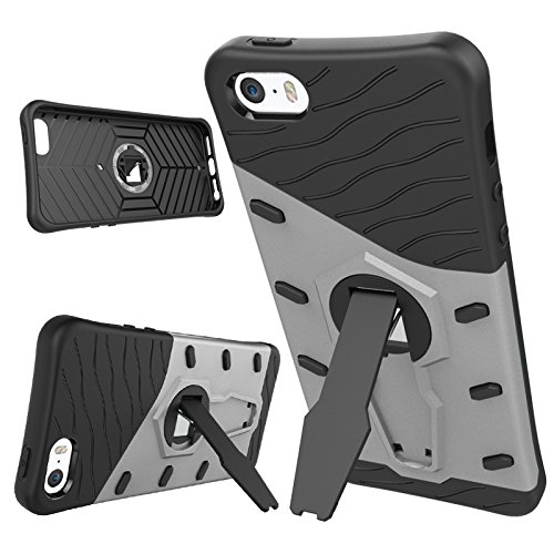 iPhone Case Cover 2 in 1 Neue Rüstung Tough Style Hybrid Dual Layer Rüstung Defender PC Hartschalen mit Stand Shockproof Case ​​für iphone 5S SE ( Color : Blue , Size : Iphone 5S SE ) Silver