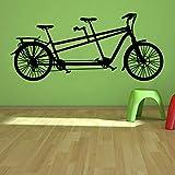 caowenhao Adesivi murali Bicicletta Tandem Tempo Libero Sport Decorazione della casa Decalcomania della Parete della Bicicletta Soggiorno Camera da Letto Arte murale Nero 133 cm x 58 cm L