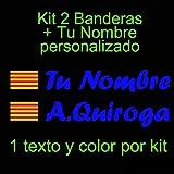Vinilin - Pegatina Vinilo Bandera Cataluña + tu Nombre - Bici, Casco, Pala De Padel, Monopatin, Coche, etc. Kit de Dos Vinilos (Azul Oscuro)