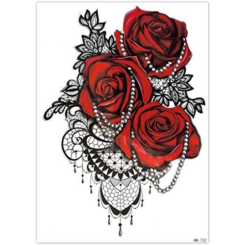 (EROSPA® Tattoo-Bogen temporär - Aufkleber Rosenblüten / Perlenkette - 15 x 21 cm)