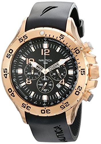 Nautica Men's 47mm Black Resin Band Steel Case Quartz Chronograph Watch N18523G