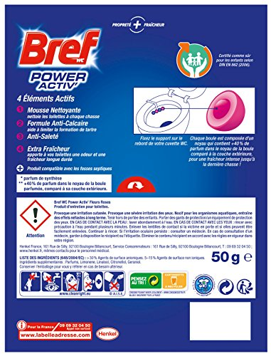Bref WC Power Activ Fleurs Roses 50g - Blocs Nettoyants WC - Lot de 5