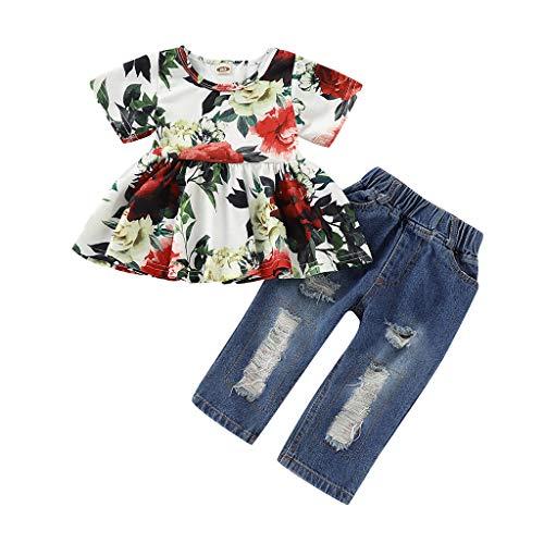 Likecrazy Baby Mädchen Kleidung Set,Kleinkind-Baby Herbst Langarm Shirt + Jeans Hosen Outfits Kleidung Set 2 Stück Prinzessin Neugeborenen Kleinkind Kleidung Set