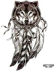 "Tatouage Temporaire ""Wolf Dreamcatcher 2"" - ArtWear Tattoo - B0382 M"