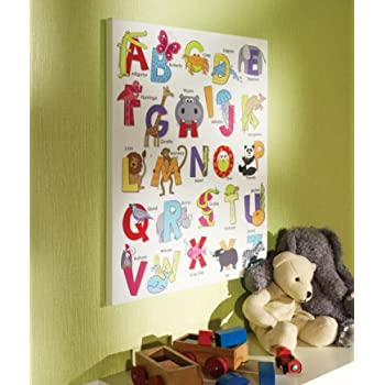 ABC Alphabet Animal Childrens Kids Bedroom Nursery Canvas Wall Art ...