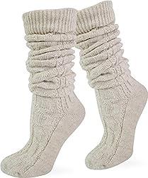 normani Oktoberfest Socken Trachten aus Baumwolle und Leinen Farbe Beige lang Größe 43/46