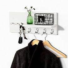 SoBuy®FRG54-W, Moderna estantería de pared, perchero, estante de pared, estante, colgador de llaves, blanco, ES