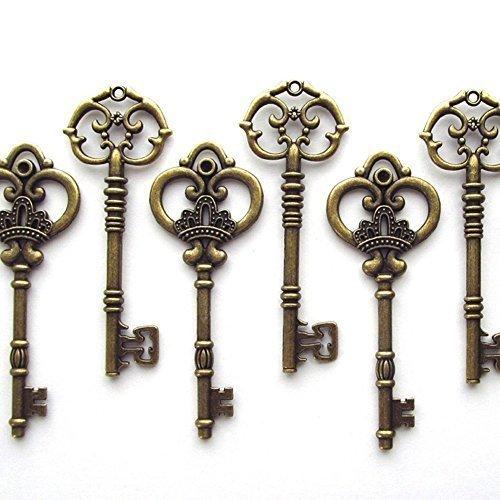 (Makhry Mixed Set von 20extra groß antik Bronze Finish Skelett Schlüssel im Antik Stil–Set von 20Schlüssel, 5 Bronze, S)