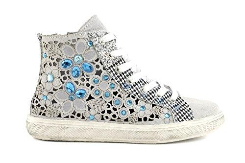 CAFÈ NOIR Sneakers running donna camoscio laserato con pietre P/E 2016 cod.DF623 (40, BIANCO/BLU)